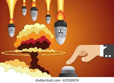 Business of a businessman hand pushing start button, nuclear war concept,paper art