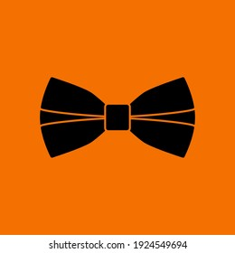 Business Butterfly Tie Icon. Black on Orange Background. Vector Illustration.