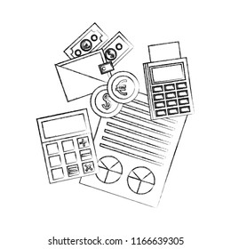 business calculator dataphone report wallet banknote coins
