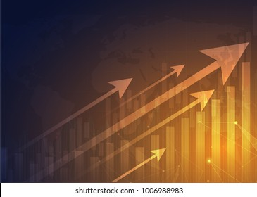 Business candle stick graph chart of stock market investment trading, Bullish point, Bearish point. trend of graph vector design.