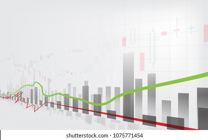 Business candle stick graph chart of stock market investment trading on white background design. Bullish point, Trend of graph. Vector illustration