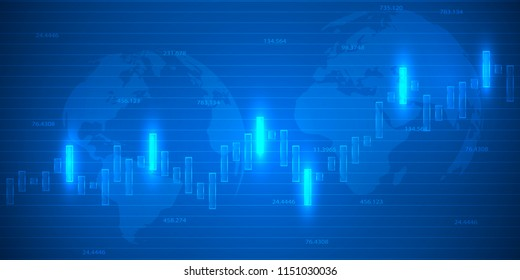 Business candle stick graph chart of stock market investment trading . Bullish point, Trend of graph. Vector illustration