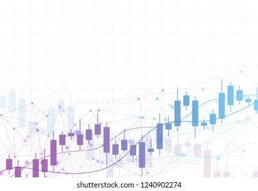 Business candle stick graph chart of stock market investment trading on background design. Bullish point, Trend of graph. Vector illustration
