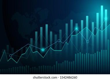 Graphique à bougies d'affaires sur fond bleu d'échange d'investissements en bourse. Point en bulgare, Tendance du graphique. Illustration Vectorielle Eps10.