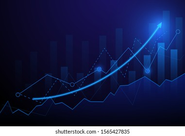 Business candle stick graph chart of stock market investment trading on blue background. Bullish point, Trend of graph. Eps10 Vector illustration.