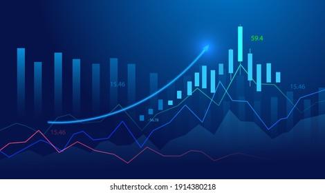 Graphique à bougies d'affaires sur fond bleu d'échange d'investissements en bourse. Point de pointe, tendance du graphique en hausse. Conception vectorielle de l'économie