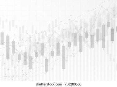 Business candle stick graph chart of stock market investment trading on dark background design. Bullish point, Trend of graph. Vector illustration