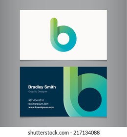 Business card with alphabet letter b.