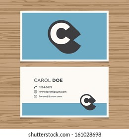 Business card with alphabet letter C. Vector template editable. Vintage design.