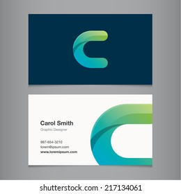 Business card with alphabet letter c.