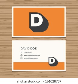 Business card with alphabet letter D. Vector template editable. Vintage design.