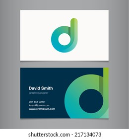 Business card with alphabet letter d.