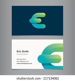 Business card with alphabet letter e.