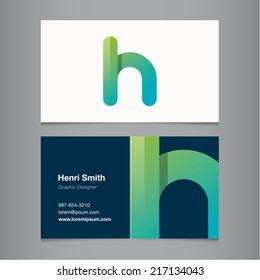 Business card with alphabet letter h.