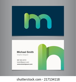 Business card with alphabet letter m.