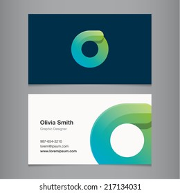 Business card with alphabet letter o.