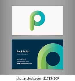 Business card with alphabet letter p.