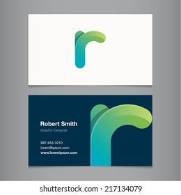 Business card with alphabet letter r.