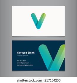 Business card with alphabet letter v.