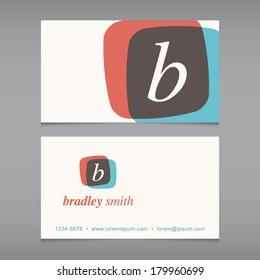 Business card with alphabet letter . Vector design template editable. Vintage design.