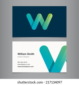 Business card with alphabet letter w.