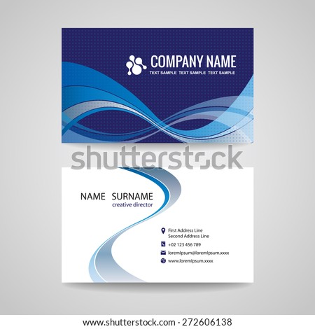 business card background template abstract blue stock vector