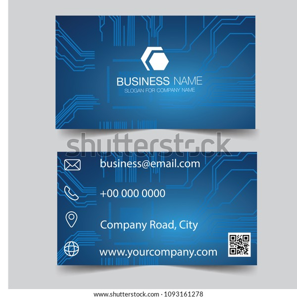 Business card .Banner blue business card template design. Exhibition advertising presentation. Global network connection. World map point and line composition concept of global business. Vector.