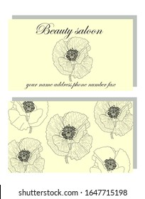 Business card for a beauty salon or company with hand drawn poppies, stylish business design. Business Luxury card. Modern Abstract design with poppy flowers decor.