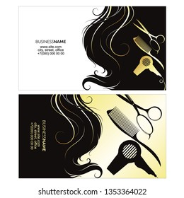 Business card for a beauty salon with golden hair curls and tools