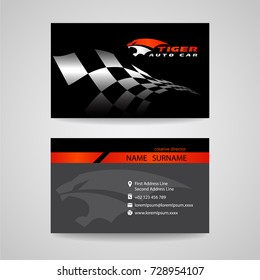 Business card black and orange with checkered flag and tiger logo sign vector design for transportation car racing sport and Car wash or auto car or engineer car