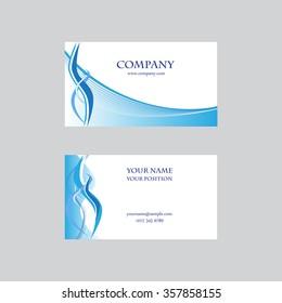 Business card in blue colors. Vector illustration