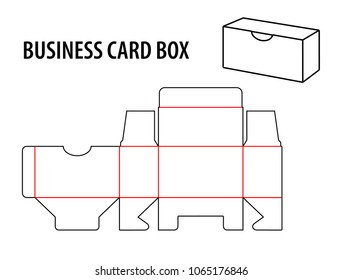 Business card box. Die cut template box visiting card. Vector isolated circuit, line business card box on white background.