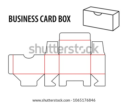 Business Card Box Die Cut Template Visiting Vector Isolated Circuit Line