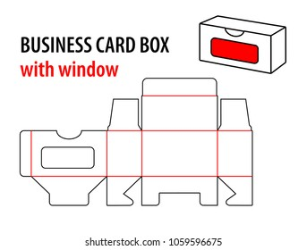 Business card box with window. Die cut template box visiting card. Vector isolated circuit, line business card box on white background.