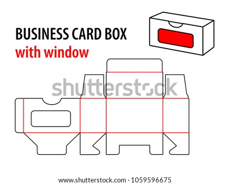 Business card box window die cut stock vector royalty free business card box with window die cut template box visiting card vector isolated circuit flashek Choice Image