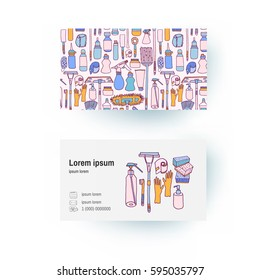 Business card of cleaning supplies and tools and ware in sketch doodle cartoon style, such as mop, bucket, rag, broom, sweep, gloves, sponges, brush, roller