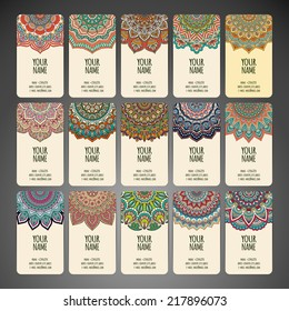 Business card collection, delicate floral pattern. Vector background. Card or invitation. Vintage decorative elements. Hand drawn background.