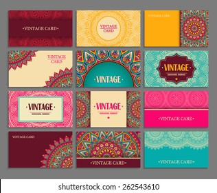 Business card collection. Vintage decorative elements. Hand drawn background. Islam, Arabic, Indian, ottoman motifs.