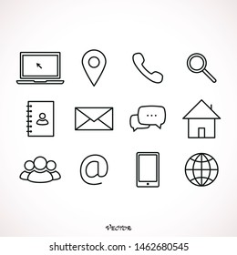 Business card contact information icons. Line, contacts of the user, cell phone number or an email address information. Vector flat style contact us illustration isolated on white background.