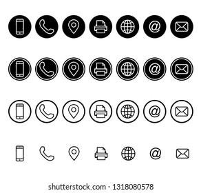 Business card contact information icons.Contact info icon. Phone address-book, button contacts of the user, cell phone number or an email address information. Vector isolated on white background.