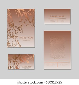 Business card and cover template set. Sophisticated, elegant and abstract corporate identity kit with marble texture and rose gold foil details. Graphic design branding vector template kit