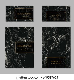 Business card and cover template set. Elegant and abstract branding identity kit with black marble texture and golden foil details. Vector graphic design for decorators, artists, stylists and more