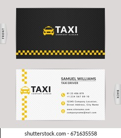 Business card design in black, white and yellow colors. Vector template for taxi company and taxi driver.
