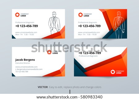 business card design blue orange business stock vector royalty free