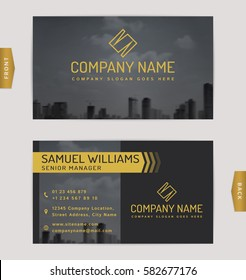 Construction business card images stock photos vectors shutterstock business card design with blurred cityscape background vector template reheart Choice Image