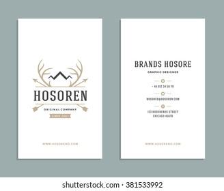 Business Card Design and Deer Horns Crown Logo Template. Vector Design Element Vintage Style for Logotype, Label, Badge, Emblem. Hunters Logo, Royal Deer Symbol, Retro Logo, Business Card Template.