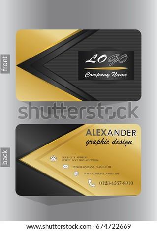 Business Card Design Elegant Gold Black Stock Vector Royalty Free