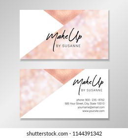 Business card design with geometric shapes, sparkly blurred bokeh background and faux rose gold foil.  Vector modern customizable business card. Easy to customize with your own text.