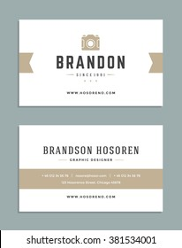 Business Card Design and Photographer Logo Template. Vector Design Element Vintage Style for Logotype, Label, Badge, Emblem. Photography Logo, Photo Logo, Photo Studio Logo, Business Card Template.