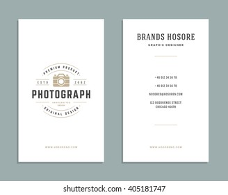 Business Card Design and Retro Style Template. Vector Design Element Vintage Style for  Label. Business Card Template.